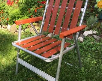 Vintage Lawn Chair / Wooden Lawn Chair / Wood Folding Lawn Chair / Camp  Chair /