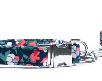 Dog Collar, Liberty Dog Collar, Fall Dog Collar, Navy Dog Collar, Floral Dog Collar, Pretty Dog Collar, Liberty Fabric Collar, Christmas