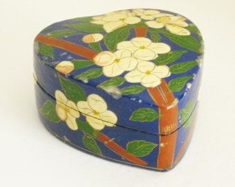 Heart Trinket Box Valentine Gift Blue Lacquer Paper Mache Jewelry Box Indian Arts & Crafts Vintage Hand Painted Kashmir India Folk Art
