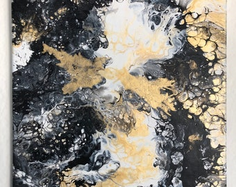 "Black and gold original abstract painting on 11"" x 17"" canvas"