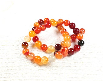 natural agate beads 10 shades of orange / red +/-8mm