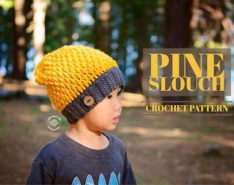 Crochet Pine Slouch Beanie PATTERN | Crochet Pattern | Crochet Hat | Slouch Beanie | Instant Download