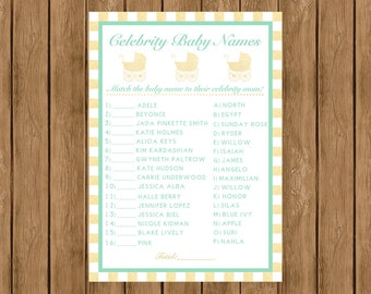 Celebrity Baby Name Game, Mint and Gold Baby Shower Games, Mint and Gold, Baby Shower Games, Instant Download Baby Shower Game, 010