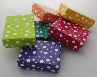 100 small Polka Dot cotton filled boxes in red, orange, yellow, green, teal and purple