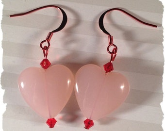 Lots of Love--Pink Hearts Red ColorSparx Earrings with Red Swarovski Crystals on Shiny Red Metal