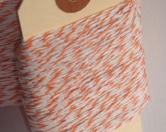 Orange and White Bakers Twine 50 Yards
