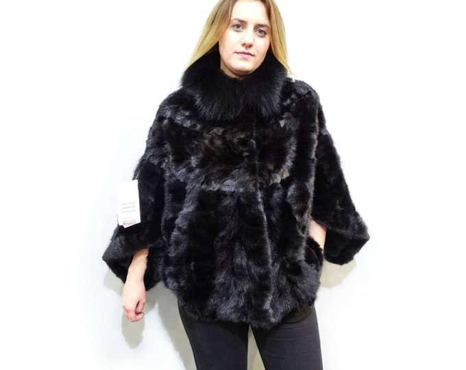 Black Poncho,Fur Cape with Fox Collar F499