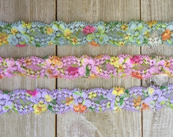 NEW! Spring Stretch Lace FLORAL embossed 3 colors blue, pink, and purple-1 inch -5 and 10 yards