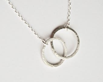 Silver Circles Necklace - Two Circles - Linked Rings - Family Necklace - Mum Necklace - Simple Minimal Jewellery