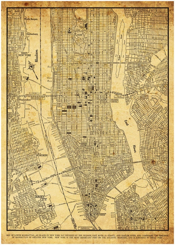 new york city map new york city manhattan street map vintage