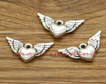 15pcs Winged Heart Charms 2 Sided Angel Wings Charms Antique Silver Tone 25x13mm cf1858
