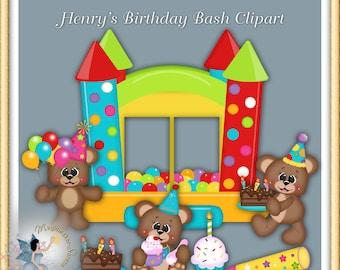Birthday Clipart Teddy Bears Digital Scrapbook Commercial Use Elements