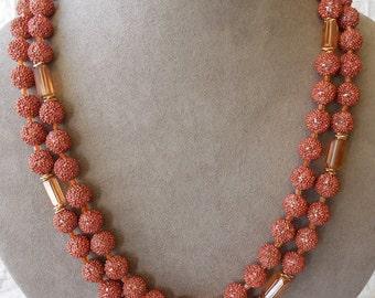 Copper-Color Bumpy Venetian Dew Bead Necklace & Earrings Set    MP24