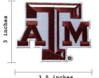 """Texas A&M Logo Size 3.5"""" Embroidered Iron On Patch"""