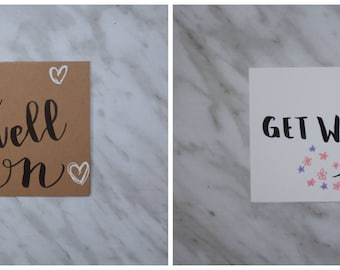 Hand Lettered Get Well Greeting Cards