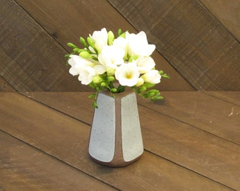 Square Vase - Vase - Ceramic Vase - Pottery Vase - Wheel Thrown - Reduction - Tin White Glaze - Go Play Clay - Guiliotis - Made to Order