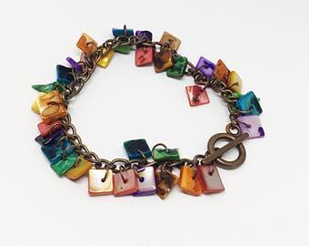 Copper Rainbow Shell Bracelet