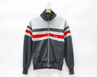 Vintage Striped Polyester Track Jacket with Zipper and Pockets in Gray and Red