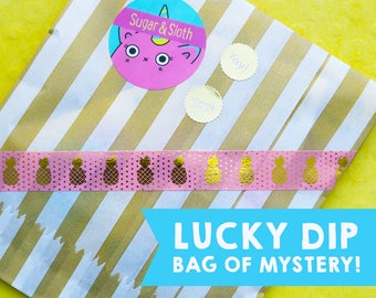 Mystery Grab Bag of four Pin Badges, Suprise Lucky Dip Bag of Goodies, Badge Party Bag, Flair Pack, Button Badges Set
