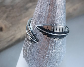 Silver feather wrap ring, handmade feather ring, handmade silver ring, bohemian feather ring, boho wrap ring, size 6-8 wrap ring