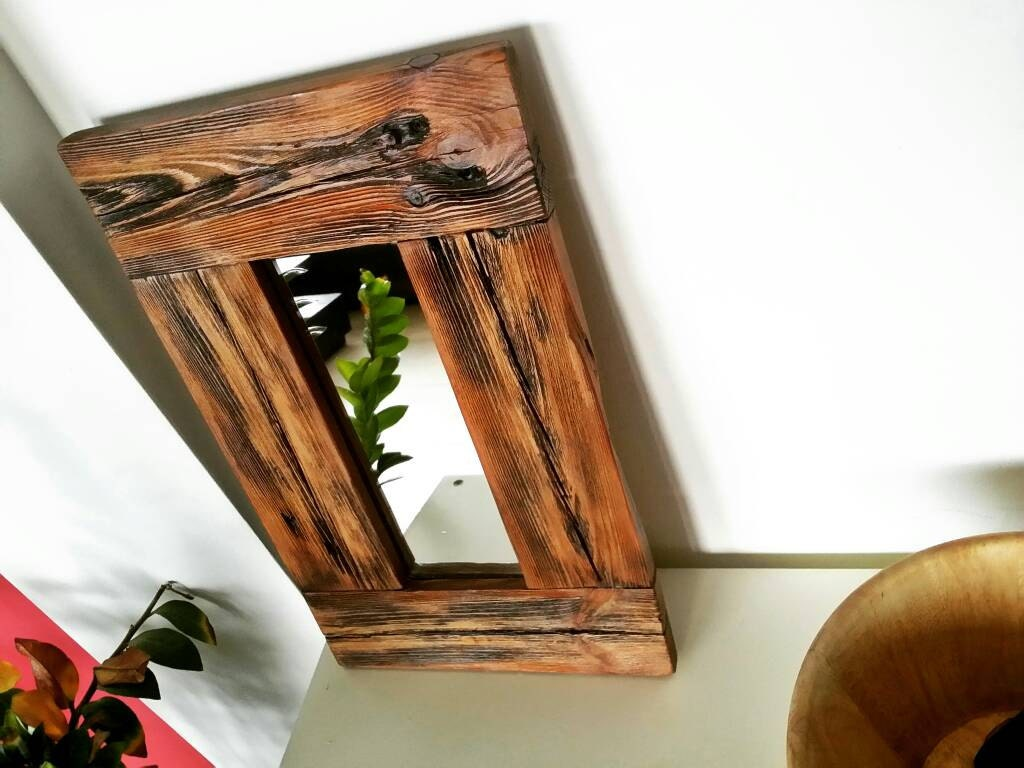 Rustic Wood Mirror Small Mirror Wood Frame Mirror Wooden