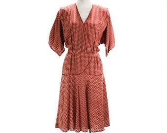 Size 8 Crepe Dress - Chic Peasant Bohemian Dress by Alessandra Roma - Rust Red Orange Blue Rayon Print - Italian Label - Waist to 29 - 49589