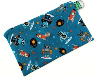 Spoonie Bag (SPACE BOTS - BLUE) - portable self-care kit for grounding when overstimulated or triggered.