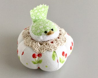 Red Green and white  Floral Bird Pincushion Cute Bird Pin Cushion Cherries Pin Cushion