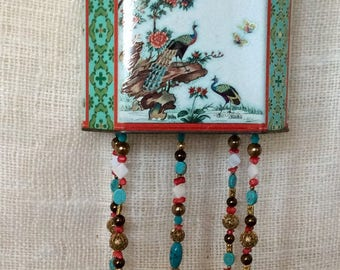 Vintage Tin Whimsy  Coral and Turquoise