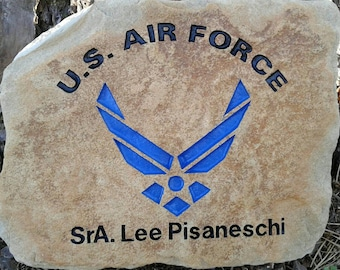 U.S. Air Force rank, name, personalized sandcarved river stone