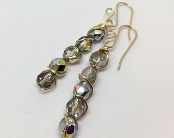 Gold Earrings, Wire Wrapped Earrings, Iridescent Earrings, Czech Glass Earrings, Handmade Beaded Earrings, Dangle Earrings