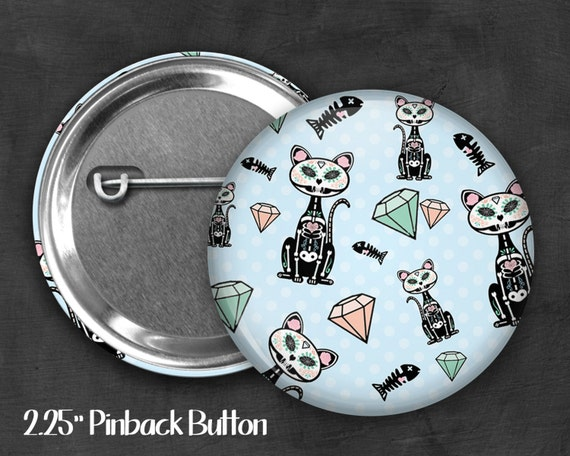 "2.25"" Skeleton Kitty Pinback Button, Geek Button, Geekery, Button, Kawaii Button, Badges, Flare, Pin, Kawaii, Fairy Kei, Pastel Goth"