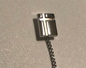 Vintage Silver Tone Offset Cross Lines Geometric Tie Tack Gift for Him Tie Accessory