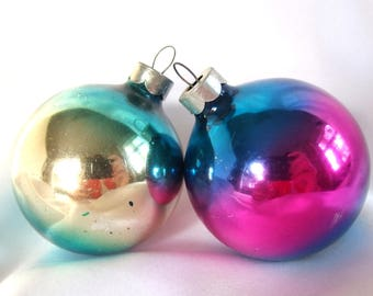 Ombre Christmas Ornaments - Two Blue Ombre with Gold or Pink Middle Christmas Ornaments