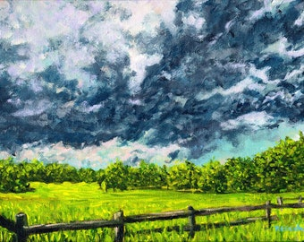 Spring Pasture at John Greenleaf Whittier Birthplace Signed Print by Mark Reusch