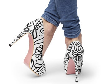 Womens Colorable Platform Heels: Sugar Skull Design