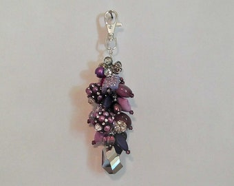 Purple Purse Charm, Purse Bling, Keychain Charm, Crystal Purse Charm, Birthday Gifts for Her, Mothers Day Gift, Mom Gift, Sister Gift, Wife