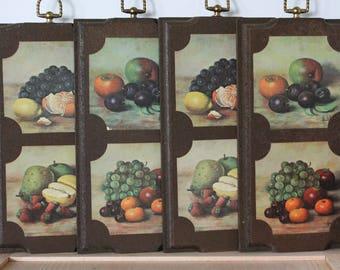 Vintage Fruit Wall Plaques, Set Of 4 Vintage Kitchen Wall Plaques, Fruit Wall Hangings