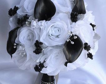 Black white bouquets | Etsy