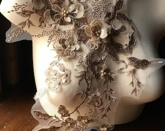 Metallic GOLD 3D Applique , Beaded and Embroidered for Lyrical Dance, Ballet, Couture Gowns F15
