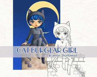 Digital Stamp Cat Burglar Girl, Catwoman Woman Digi Download, Fantasy Goth, Costume Halloween, Coloring page, Clip Art, Scrapbooking Supply