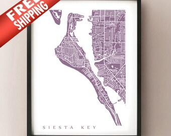 Siesta Key Map Print - Florida Art Poster