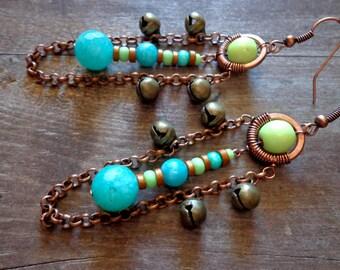 Afrocentric earrings, tribal earrings, afrocentric jewelry, african earrings boho earrings amazonite earrings tibetan jewelry ethnic jewelry