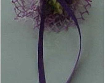 Crocheted Variegated Lavender Tussie Mussie Pin or Brooch