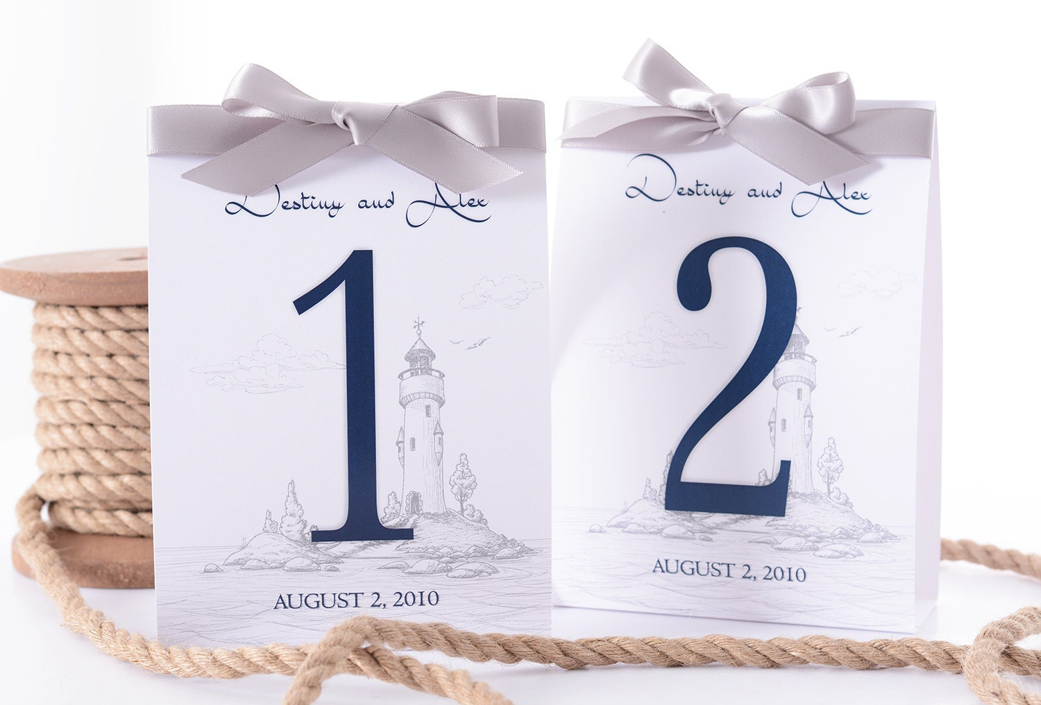 Nautical Wedding Table Number Tent Cards - Lighthouse Wedding Table ...