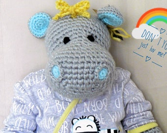 Handmade Toy Hippo. Crocheted, Perfect Baby Gift in soft gray and lavender