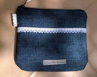 Denim and cotton make up storage pouch mobile cell phone Pocket zipper veronpiotcreation