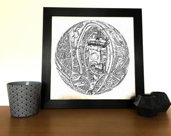 Hand drawn Durham 3D Globe Map Art // Durham Print // Birthday Gifts // Housewarming Gifts // Anniversary Gifts //