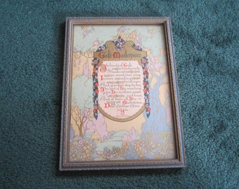 """Vintage 1920s Framed Print """"Mother, God's Masterpiece"""" by Maurine Hathaway"""
