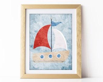 Nautical Nursery Art Print Sail Boat Blue and Red Nursery Wall Art Nautical Theme Baby Room Nautical Decor Nautical Digital Download 8x10